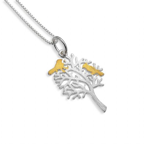 Bird Tree Pendant Sterling Silver Necklace 925 Hallmark All Chain Lengths